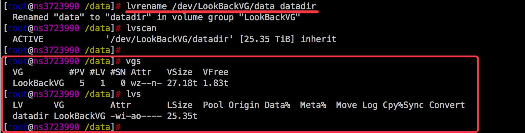 Linux之LVM修改VG和LV名字
