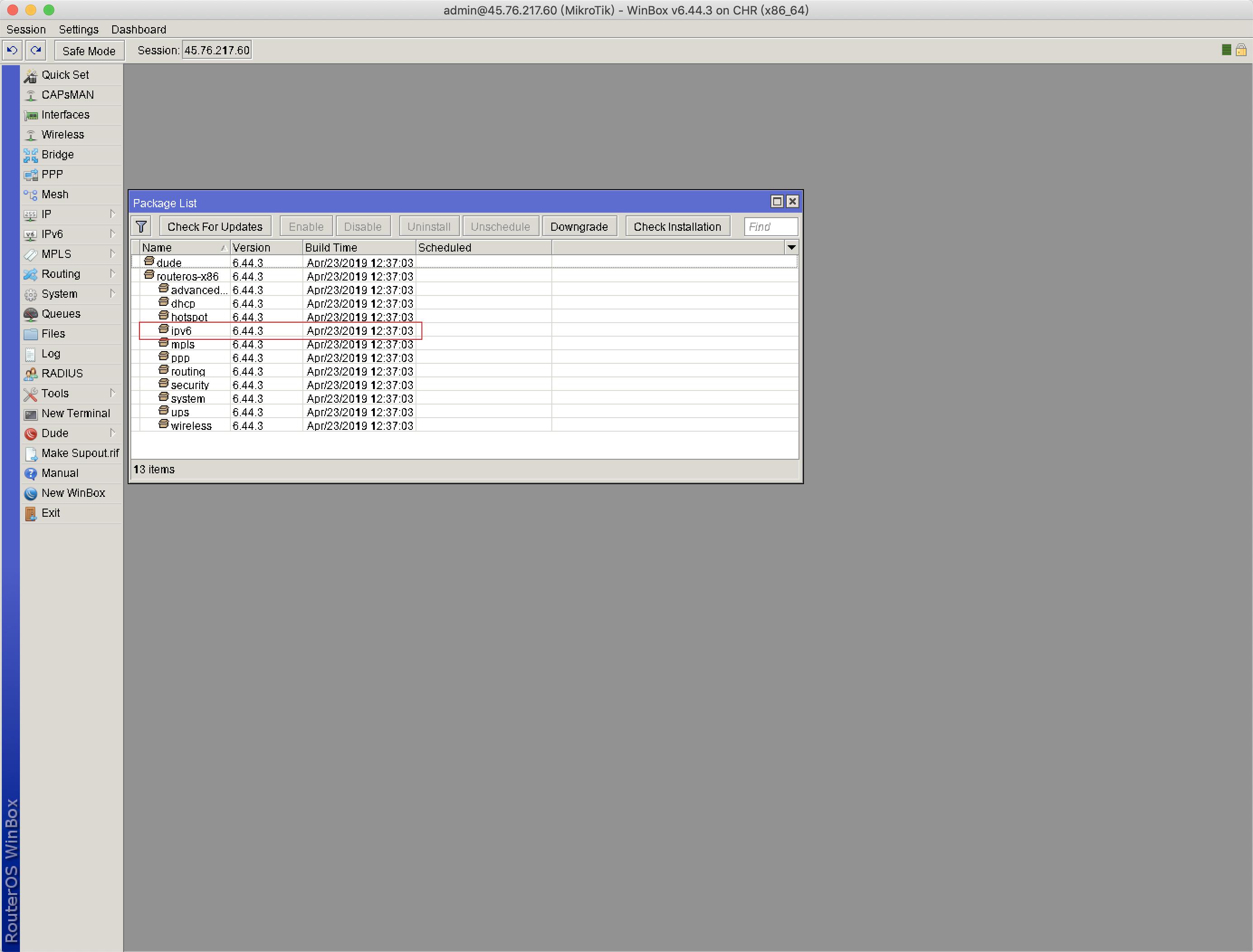 Vultr 安装Mikrotik RouterOS后配置IPV6和IPV6 BGP