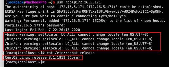 CentOS8 -bash: warning: setlocale: LC_ALL: cannot change locale (en_US.UTF-8) 解决方法